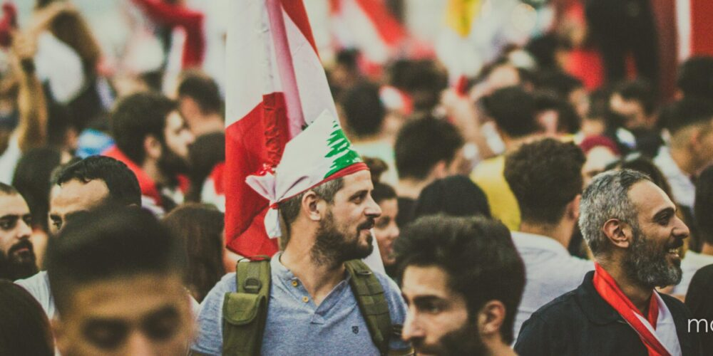 People protesting in Lebanon during the Lebanese revolution in 2019